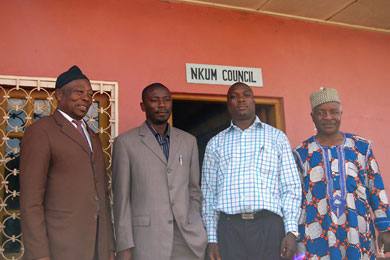 From left, Parliamentarian Ngoran Lawrence, HIC's Divine Ntani and Bannyuy Justine, and Nkum Mayor Alhaji Kifon