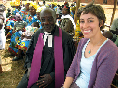 "Reverend Tata Henry and HIC Volunteer Amanda Masters. This year, Reverend Tata Henry will celebrate his ""golden jubilee"", his 50th year of service to the community."