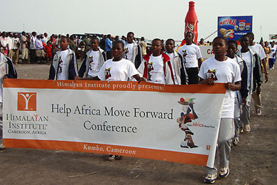 The athletes of the Milano Kumbo Sports Academy in the athletes' parade at Molyko Stadium