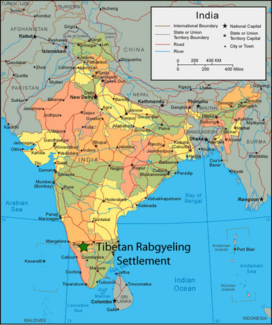 The Rabgayling settlement is located in the Mysore district of Karnataka, India. Click on the image for a detailed map of the area.