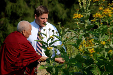 Professor Samdhong Rinpoche tours the gardens of the Himalayan Institute center in Honesdale, PA.