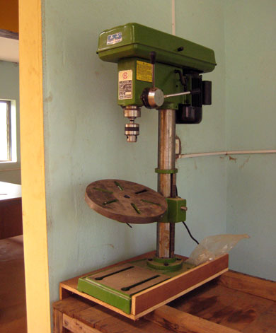 Drill press – bores exact holes at exact angles and depths, which is almost impossible with a hand held drill.