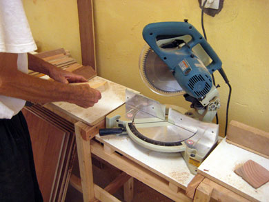 Miter Saw – makes angle cuts and is very efficient making accurate repetitive cuts.