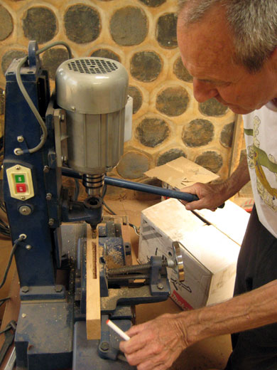 Mortising Machine – cuts square holes for precise joinery. Currently, carpenters in Kumbo must spend hours cutting mortises by hand. With the introduction of the Mortising Machine to the community, a cut like this takes only minutes.