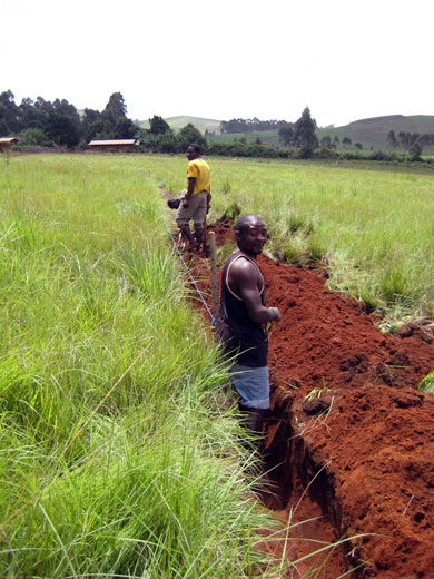 The 452m pipeline trench was dug by hand over five days.