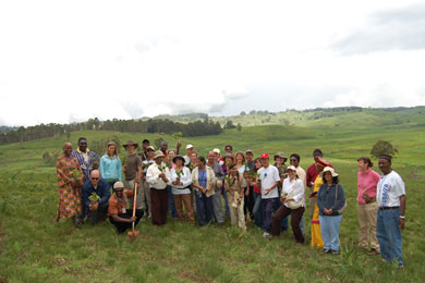 Members of the 2008 HAMF Conference during a tree planting project with the School of Energy Farming.